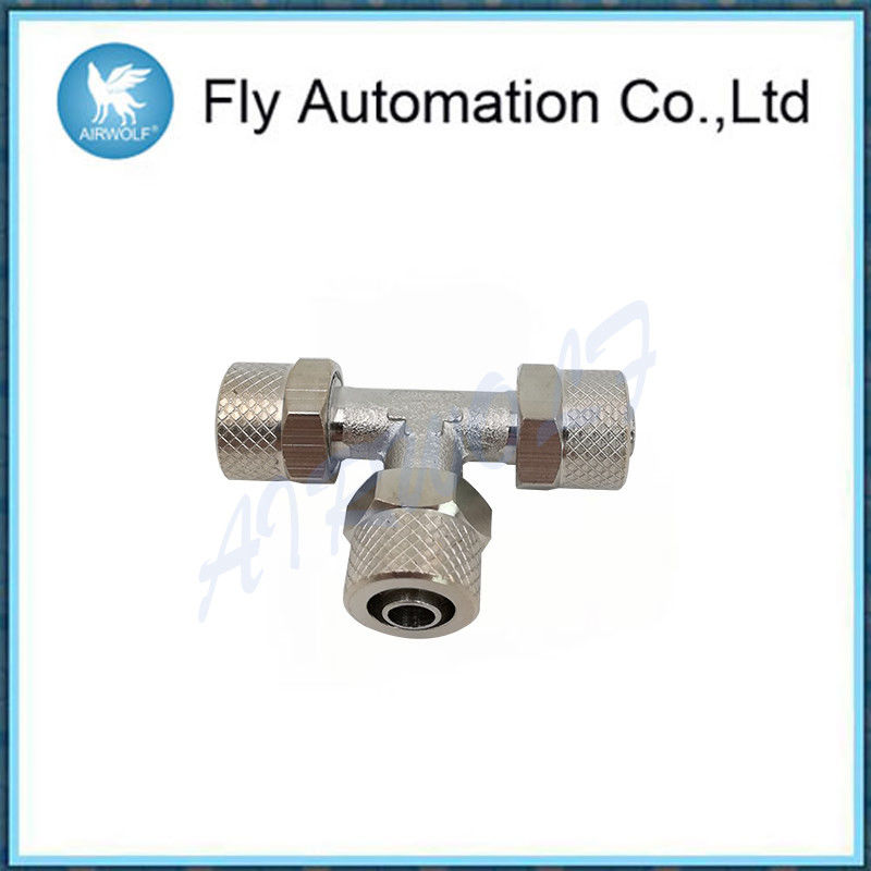 1540 Series Brass Pneumatic Fittings , Three Connection Joint Brass Tube Fittings