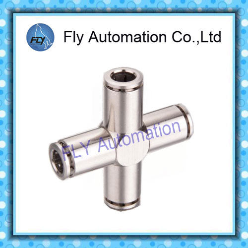 Four Way Nickel-Plated Copper Push  - In Pneumatic Brass Tube Fittings PZA Series